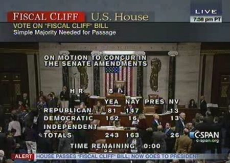 House vote on fiscal cliff tax bill HR8 010113