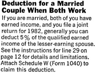 Joint filing workers deduction 1982 from 1040 instructions PDF