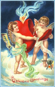 Antique valentine cupids