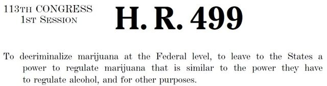 HR 499 to decriminalize marijuana at the federal level