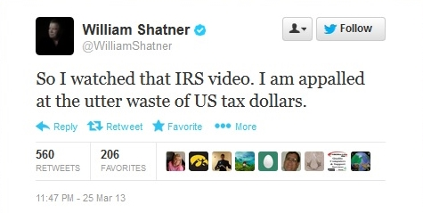 William Shatner tweets IRS Star Trek video critique