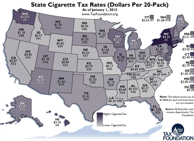 Tax Foundation map of state cigarette taxes 2013; click image for a larger view