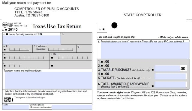Texas Use Tax Return