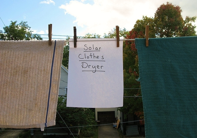 Solar clothes dryer photo by Shira Golding via Flickr CC