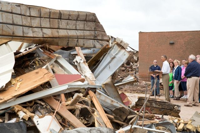 Obama outside destroyed Plaza Towers Elementary School in Moore Oklahoma May 26 2013 White House photo by Pete Souza