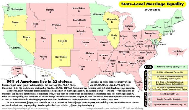 Marriage map 26-June-2013 via Marriage Equality USA