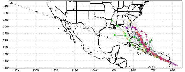 Tropical Storm Chantal spaghetti runs 070913 map