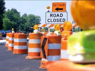 Road Construction cones detour closure