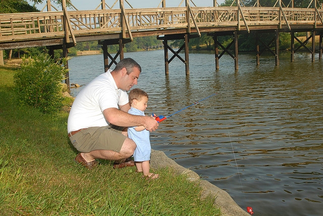 Father and son fishing by Sue Gerard via Flicker CC