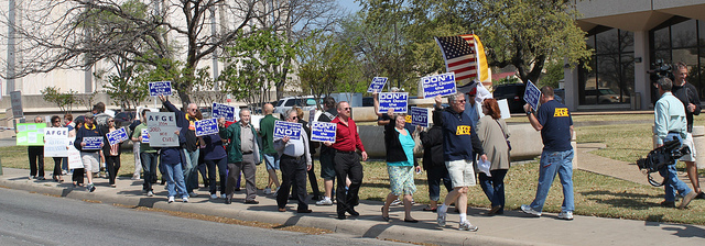 AFGE members march in San Antonio to protest sequestration furloughs