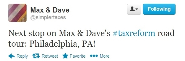 Max and Dave tax reform tour Philly announcement Twitter