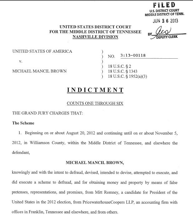 Michael-Mancil-Brown-Indictment_Romney-tax-returns-hoax_062613
