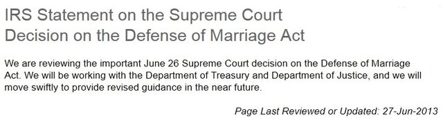 IRS DOMA statement June 27 2013