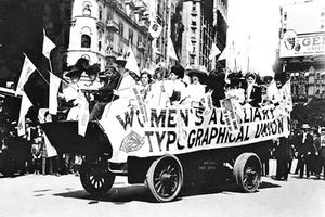 Womens Typographical Union Labor Day parade float via Department of Labor