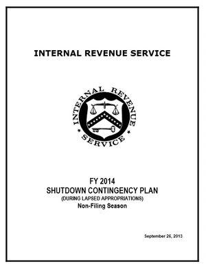 IRS FY2014 Shutdown Plan cover
