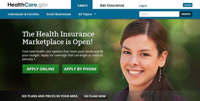 HealthCare dot gov home page screen capture