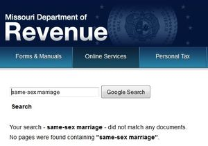 Missouri Department of Revenue same-sex marriage search results 111813
