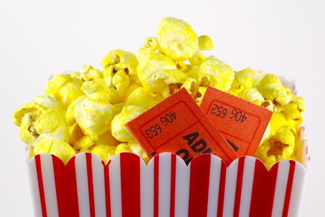 Movie popcorn two ticket stubs