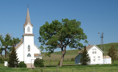 Sims ND ghost town Lutheran church and parsonage