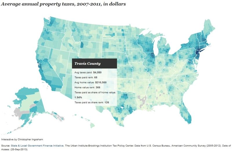Brookings Institution interactive property tax map Travis County Texas screen shot