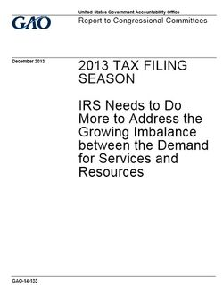 GAO report on IRS services and resources Dec2013