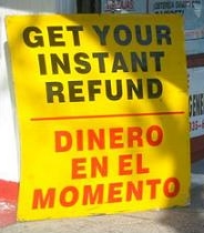 Instant tax refund sign