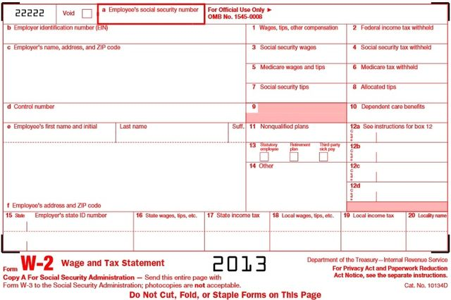 Form W-2 Wage and Tax Statement 2013 tax year