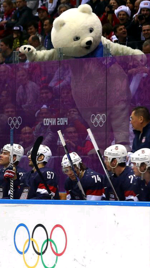 Dejected US mens hockey team taunted by Sochi2014 bear mascot by Nathan Tucker via Twitter