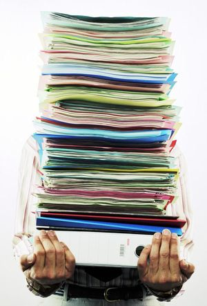 Document stack being carried