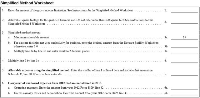 Simplified home office deduction worksheet
