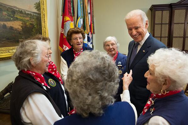 Joe Biden meets with a group of real Rosie the Riveters