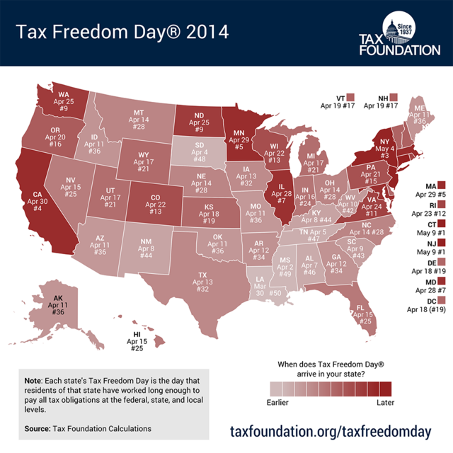 Tax Freedom Day 2014_Tax Foundation map