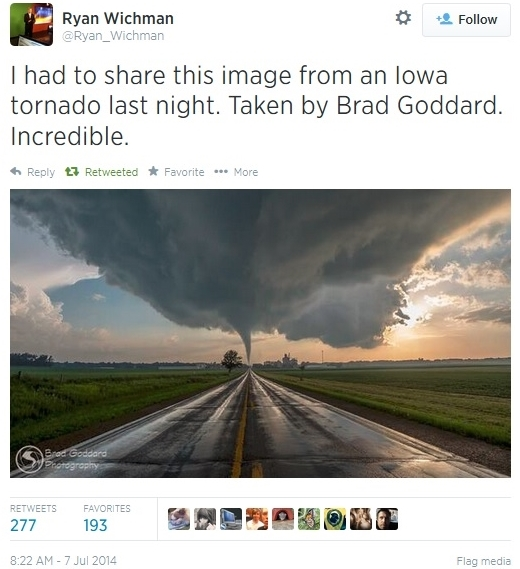 Brad Goddard Iowa tornado photo July 6 2014 via Ryan Wichman Twitter