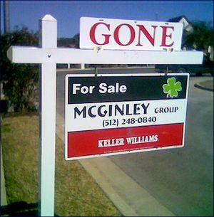 Home sale-sold sign snapped by Kay Bell in her Austin neighborhood