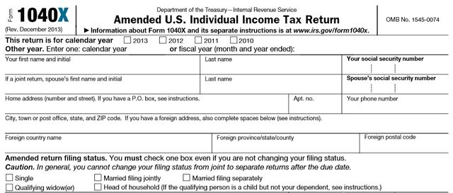 IRS Form 1040X amended federal tax return filing