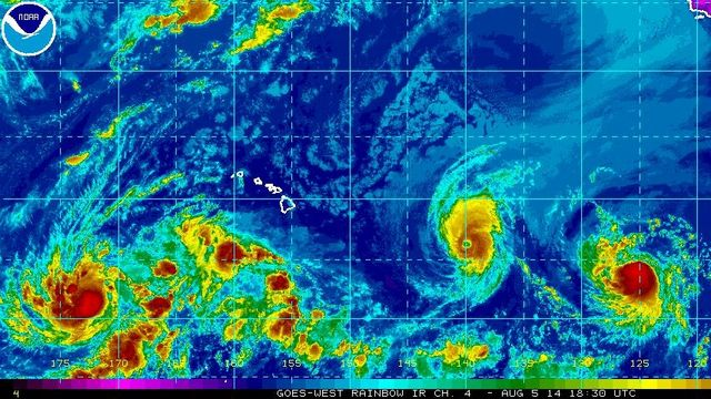 NWS-NHC-NOAA radar of Hurricanes Iselle and Julio