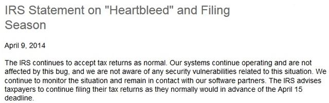 IRS Heartbleed Bug statement 040914