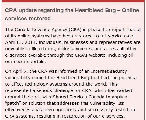 Canada Revenue Agency back online 041314_1