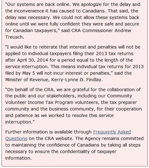 Canada Revenue Agency back online 041314_2