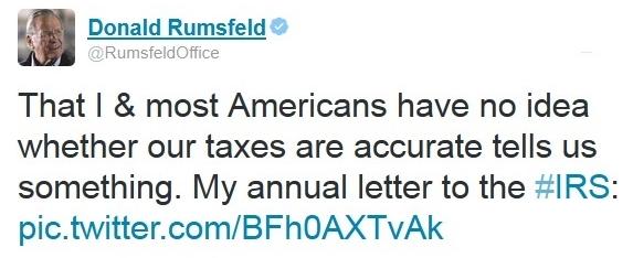 Donald Rumsfeld Tweet re annual IRS filing letter