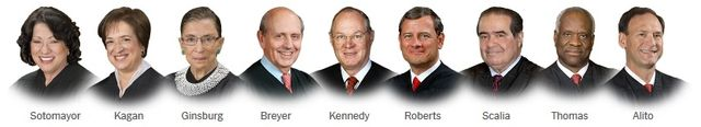 Supreme Court Justices head shots via New York Times