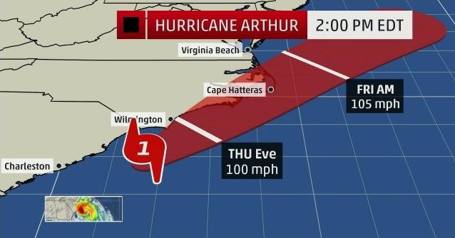 Hurricane Arthur path 070314_The Weather Channel