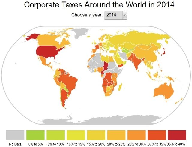 Global corporate tax rates_map via the Tax Foundation