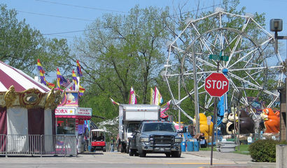 Carnival and stop sign