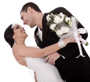 Bride and Groom Just Married Posing Happily by Photostock  via FreeDigitalPhotos-dot-net