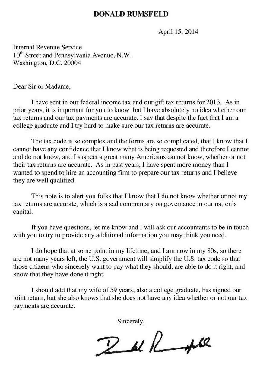 What would you say in a letter to the IRS Former Secretary of