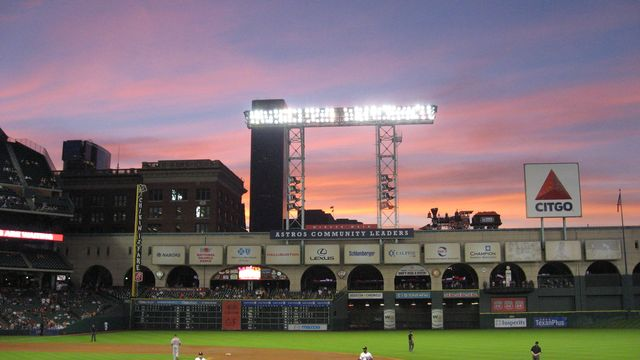 Sunset at Houston Astros game at Minute Maid Park late April 2014