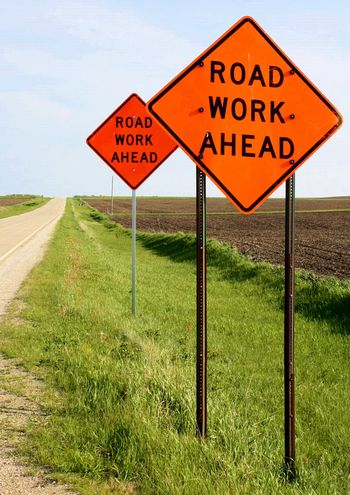 Road work signs_via Marion Gunderson Art