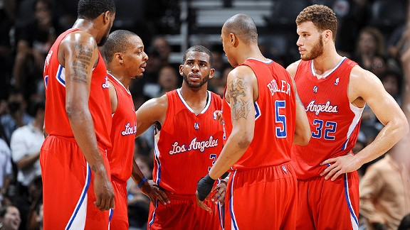 Los Angeles Clippers players discussing game strategy