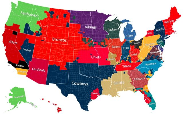 NFL fans based on Facebook Data Science info via The Atlantic